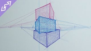 Sketch of the Day #2: Stacked Blocks in 2-Point Perspective (Drawing Time Lapse)