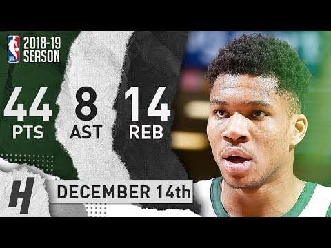 Giannis Anteokounmpo Full Highlights Bucks vs Cavs 2018.12.14 - 44 Pts, 8 Ast, 14 Reb, DUNKFEST!