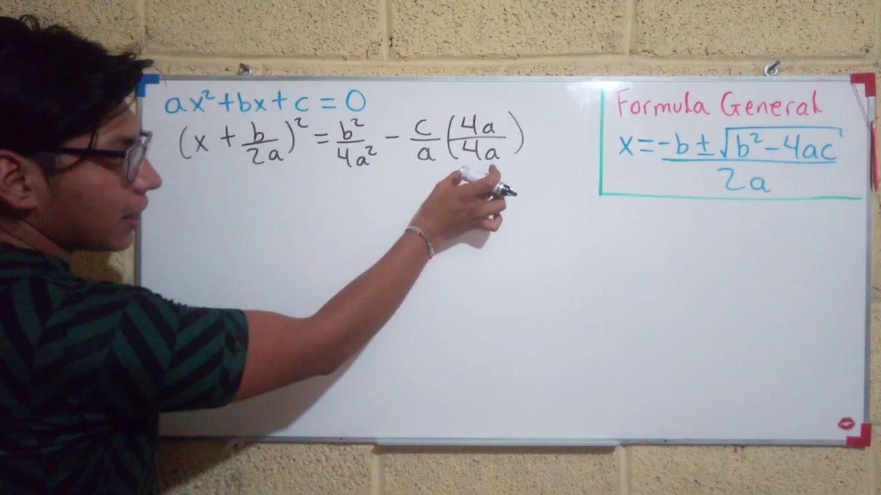 Formula general para ecuaciones de segundo grado