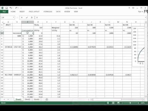 Risky Finance Part 2 Utility function excel example