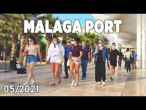 Malaga Port, Evening Walking Tour in May 2021, Costa del Sol, Spain [4K]