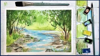 Easy Beginner Landscape in Watercolor: Summer Stream
