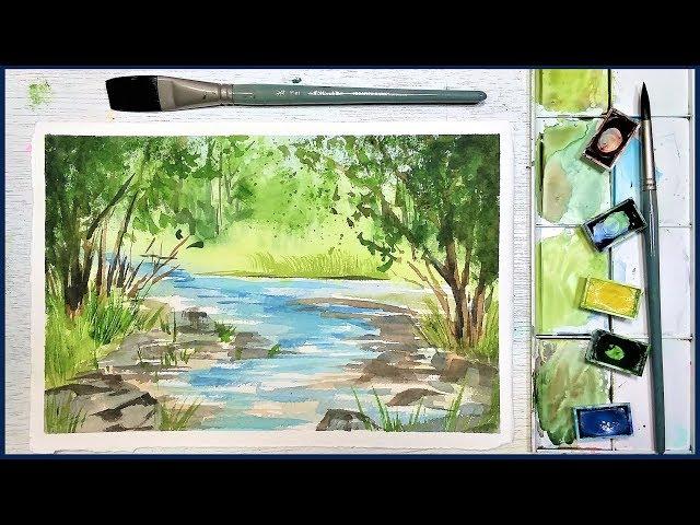 Easy Beginner Landscape in Watercolor: Summer Stream