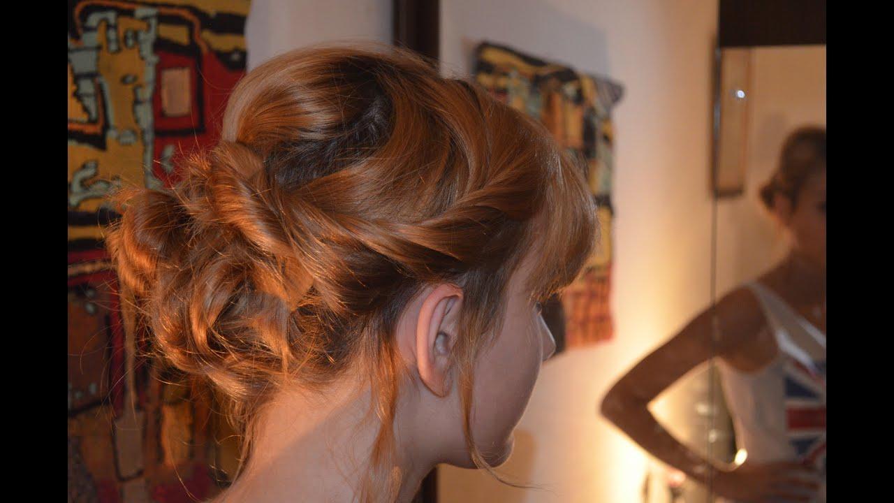 Peinado recogido desordenado para pelo corto y largo youtube - Peinados de fiesta cabello largo ...