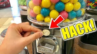 How To Hack A Gumball Machine! FREE CANDY!!