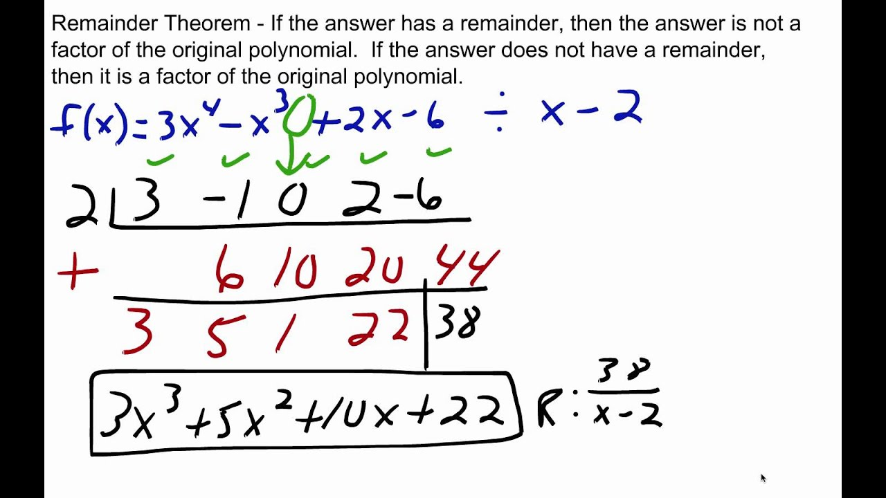 Dividing Polynomials - Remainder & Factor Theorems - YouTube