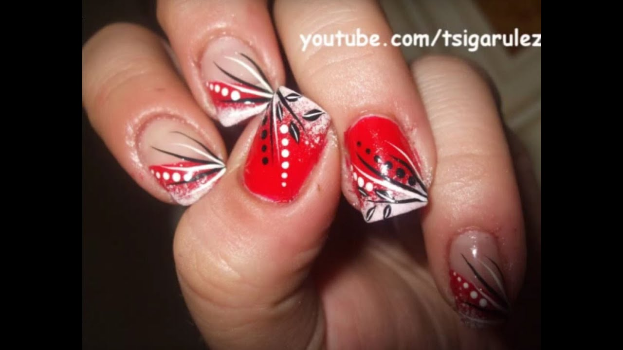Christmas nail art tutorial with redwhiteblack sponge christmas nail art tutorial with redwhiteblack sponge prinsesfo Image collections
