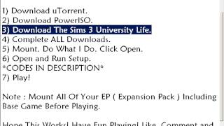 How To Download The Sims 3 University Life For FREE!!
