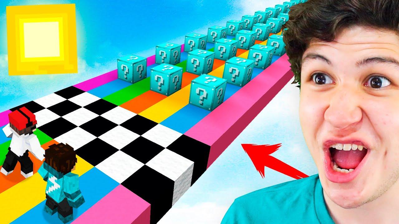 CARRERA de LUCKY BLOCKS de DIAMANTE en MINECRAFT! Minecraft Mods