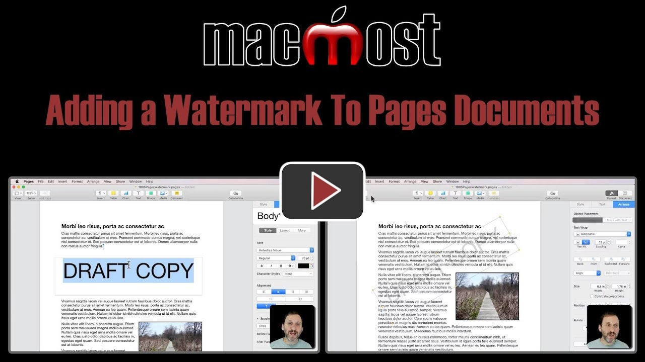 Adding a Watermark To Pages Documents
