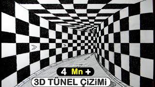 3D Tünel Çizimi - Üç Boyutlu Tünel Çizim - How to draw 3D  tunnel drawing.