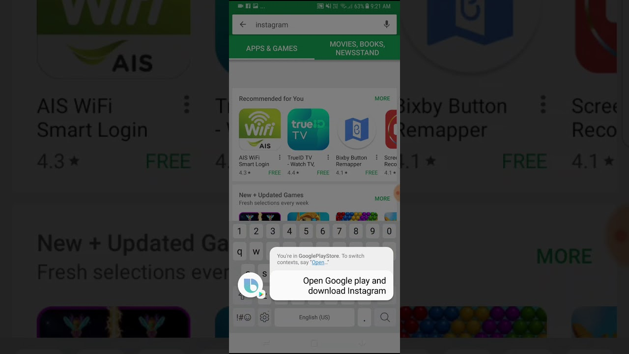 Bixby Download App from Google Play