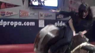 Lynda and Angie ride the bull