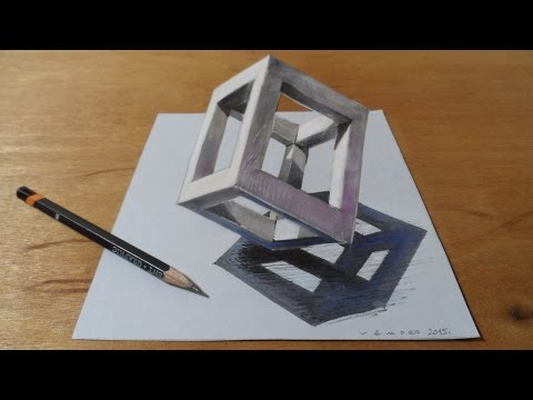 Standing Cube at the Peak, 3D Trick Art on Paper