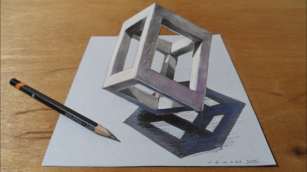 How to Draw 3D Cube - Drawing 3D Cube - Standing Cube at the Peak ...