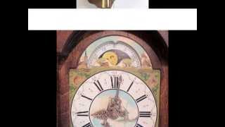 Large Warmink Dutch 8 Day Oak Wood Friese Tailed Staartklok, Wall Clock Moon Dial