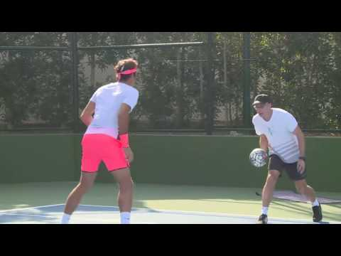 Roger Federer Live Practice with Lucas Pouille In Dubai 12/2016