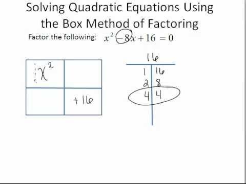 Solving Quadratic Equations Using The Box Method Of Factoring