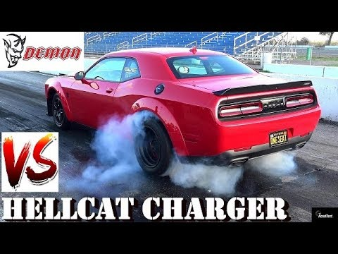 840 HP Dodge DEMON vs HELLCAT Charger - 1/4 mile Drag Race - Road Test TV ®