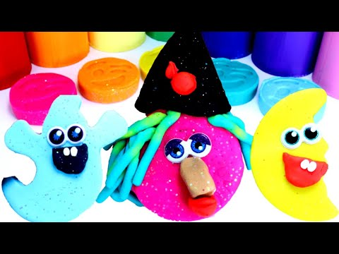 HALLOWEEN PLAYDOH SURPRISES : Learn Colors and Numbers | Play doh Ghost Mummy Witch Hatchimals Toys