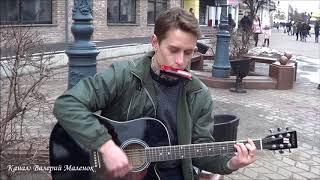 Парень играет на гитаре и губной гармошке! Brest! Music!
