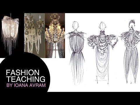 Fashion collection inspired by chandeliers feathers and butterflies
