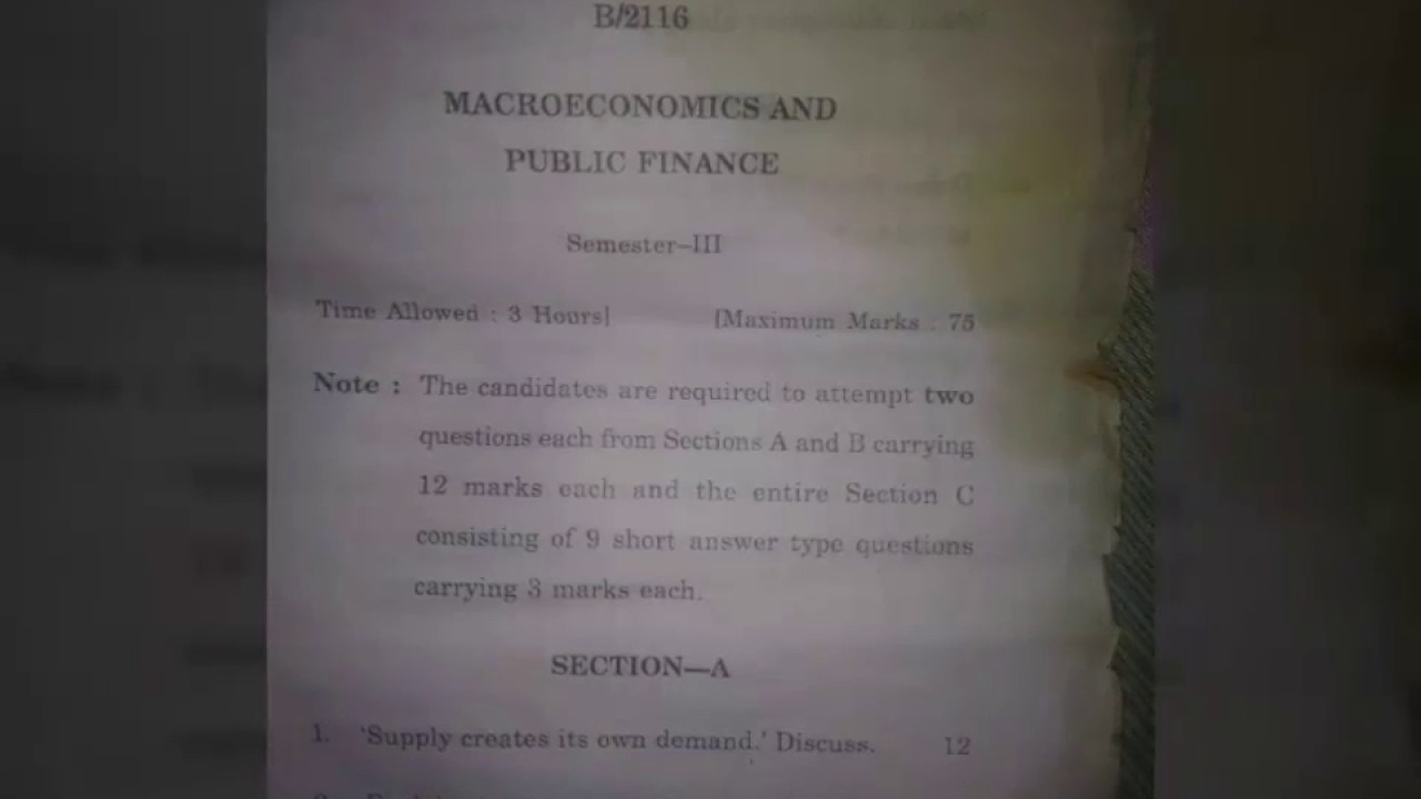 macro economics public finance question paper  macro economics public finance question paper