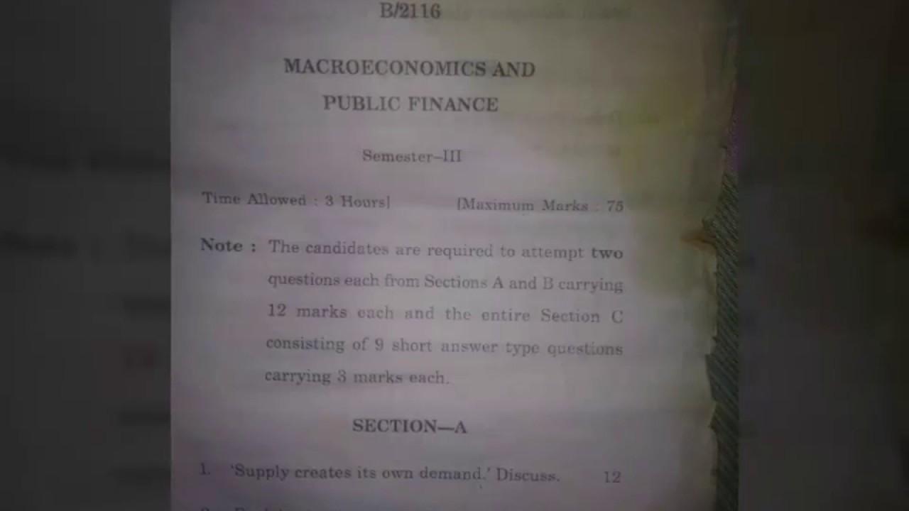 MACRO ECONOMICS & PUBLIC FINANCE || QUESTION PAPER
