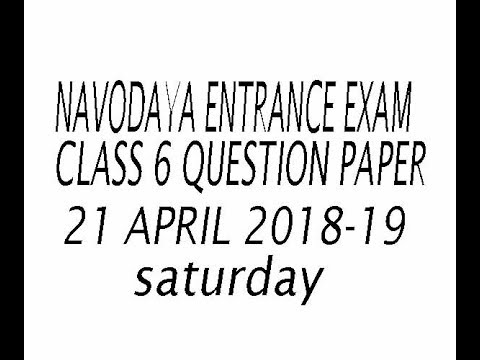 navodaya exam class 6th question paper   21 april 2018