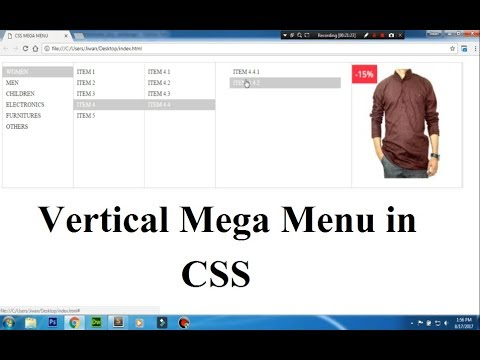 how to create a vertical mega menu in css?