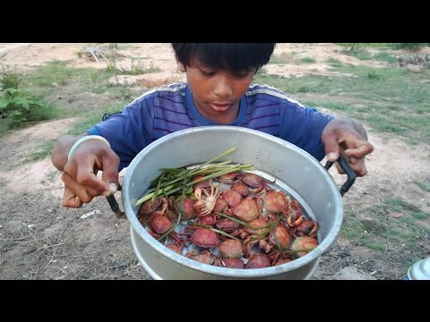 Wow! Amazing Two Boys Cook Crab For Dinner In My Village - Countryside Food