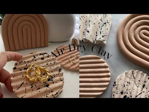 Easy Air Dry Clay ideas for Beginners | DIY aesthetic tray and coaster ideas | 지점토 트레이 만들기