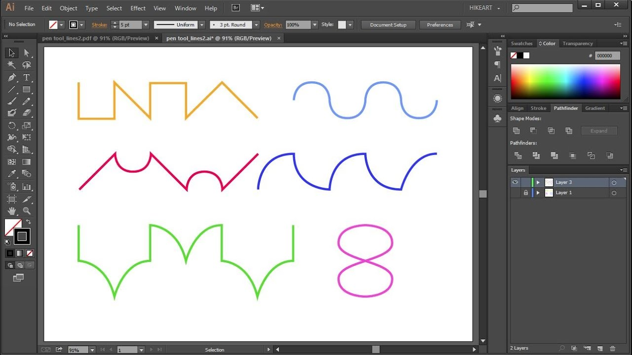 Drawing Lines With The Pen Tool : How to draw lines using the pen tool in adobe illustrator