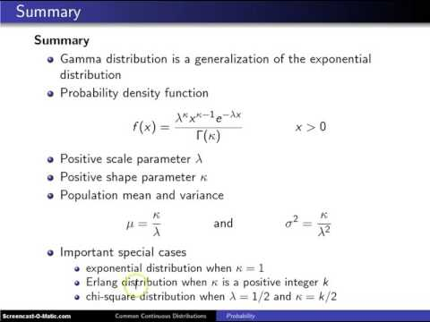 Gamma distribution summary