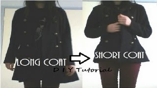 DIY: Long coat to Short coat (upcycling) sewing