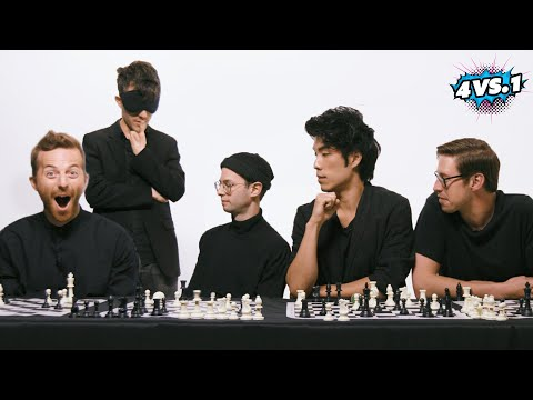 Can 4 Guys Beat A Blindfolded Chess Master?  The Try Guys: 4 Vs. 1