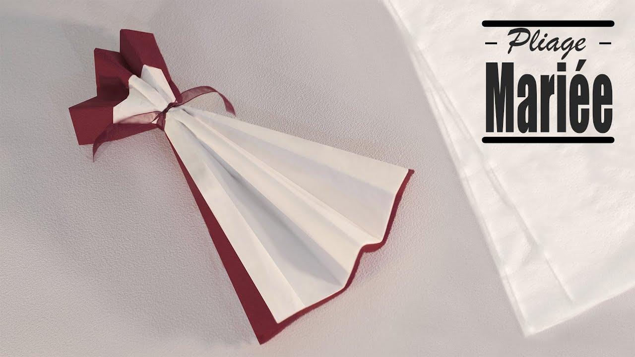 Pliage de serviette Noel: Robe de Mariée - YouTube