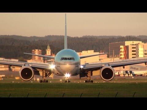 Flugzeuge am Flughafen Zürich ZRH Start und Landung-Airplanes Aeroplanes avión