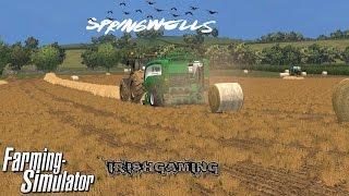farming simulator 2015 baling staw on springwells