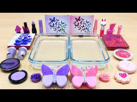 Purple vs Pink ! Slime | Mixing Makeup Eyeshadow into Clear Slime ! Satisfying Videos #547