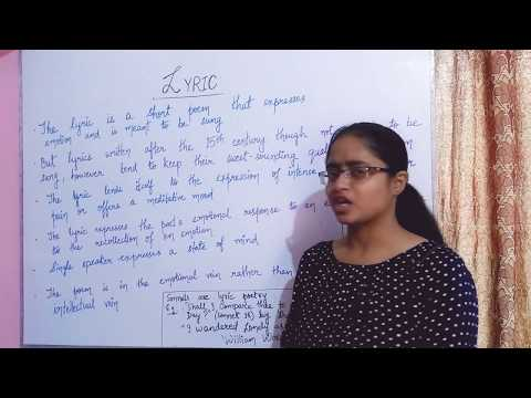 LYRICS | A FORM OF POETRY | EXPLAINED IN HINDI |