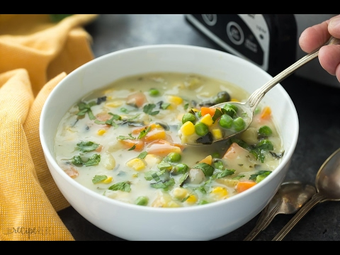 Slow Cooker Creamy Vegetable Soup Recipe
