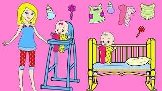Paper Doll Babysitting Baby Twins 🍼 Paper Playset