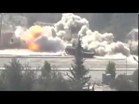 تفجير دبابة أسدية في حي جوبر وهروب الجنود كالفئران