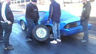 Blue camaro breaks rear end at the gut.