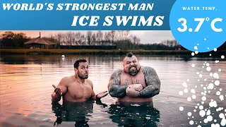 World's STRONGEST Man ICE SWIMS (3.7°C) ft. Eddie Hall