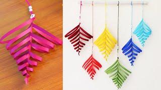 Paper leaf wall hanging tutorial - DIY Easy wall decoration ideas