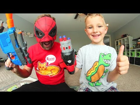 Thumbnail: FATHER SON SUPER HERO NERF WAR! / Spiderman Homecoming!