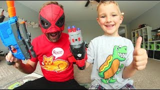 FATHER SON SUPER HERO NERF WAR! / Spiderman Homecoming!