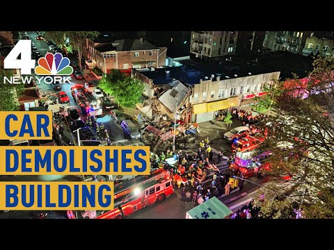 Wild  Shows Car Plow Into NYC Building Cause Collapse  NBC New York